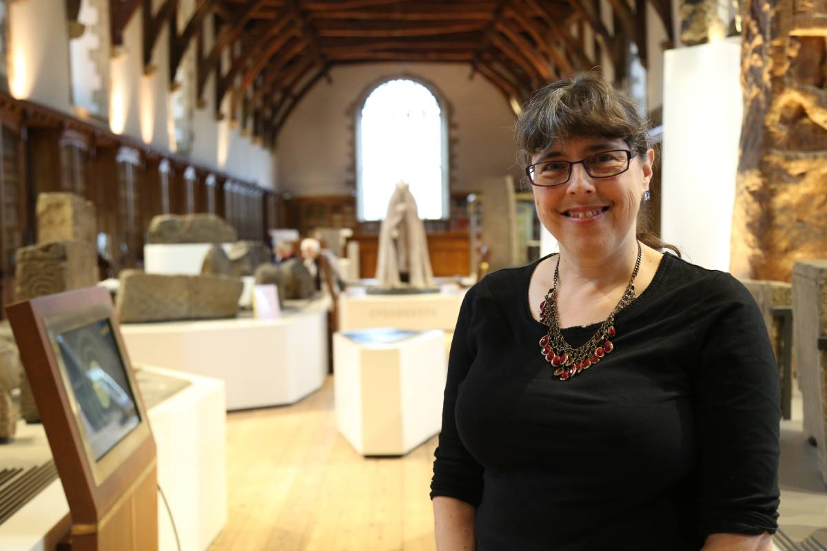 Head of collections Alison Cullingford at the launch of the new Durham Cathedral Open Treasure exhibition 'Mapping the World'