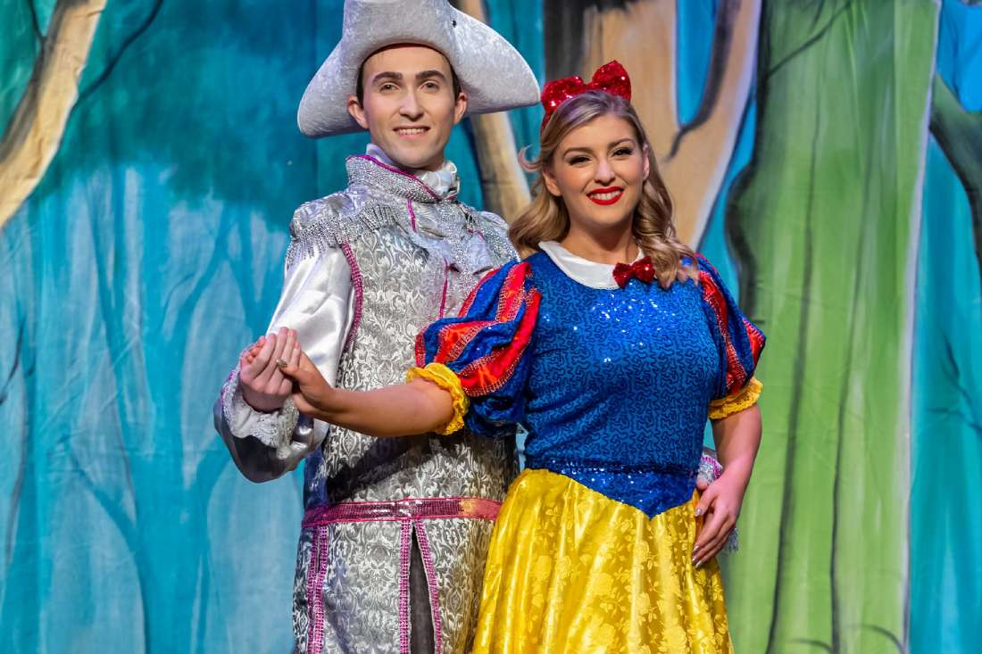 Prince Edmund of Ebchester (Alex Seymour) and Snow White (Maria May) in the Consett Empire Theatre 2019 Christmas pantomime