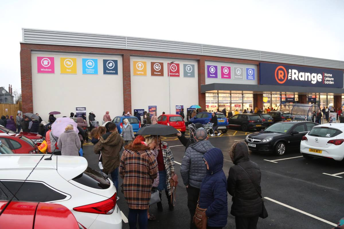The Range Durham store: crowds queued in the drizzle for the opening
