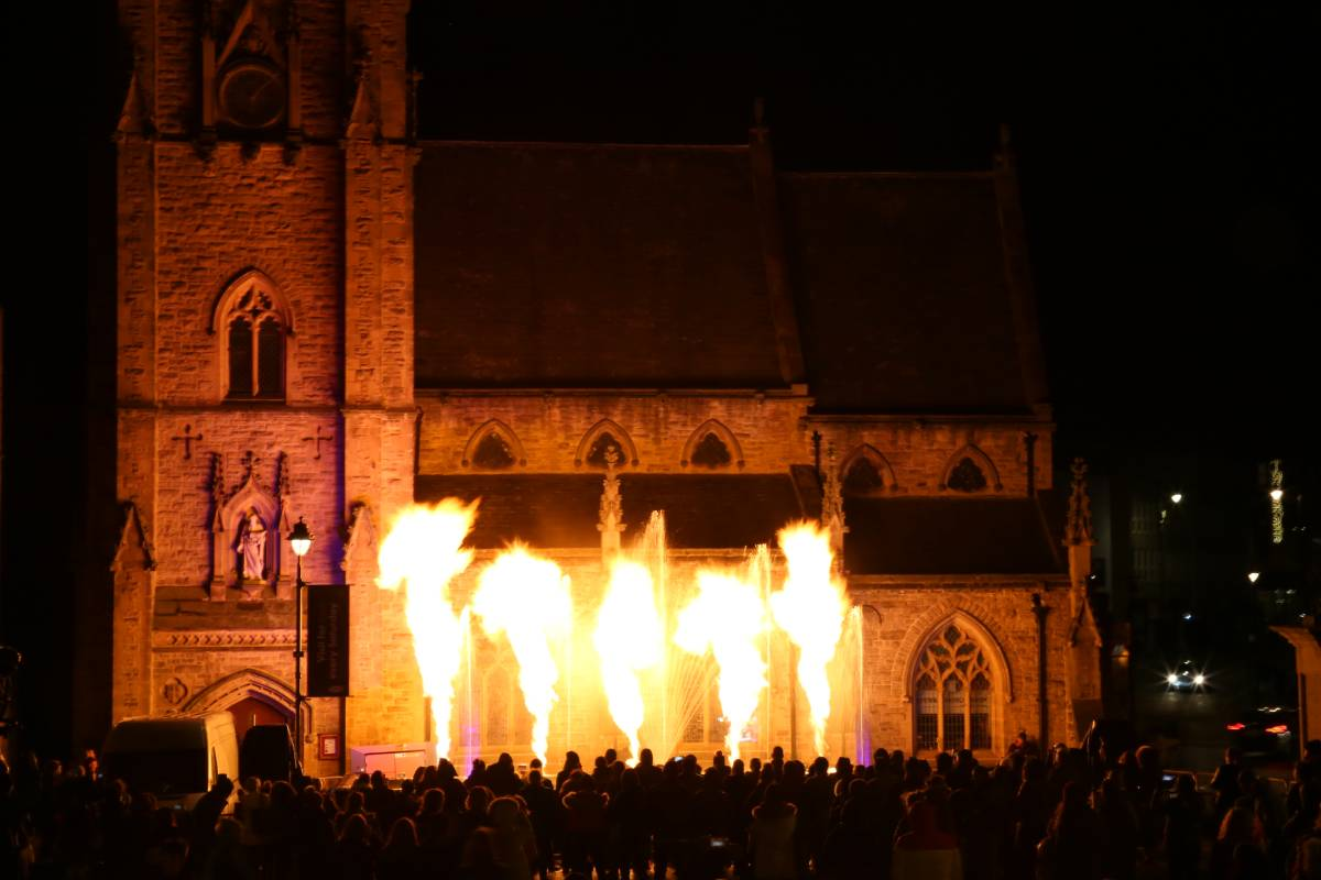 The fire show spectacular at the end of Fire and Ice Durham