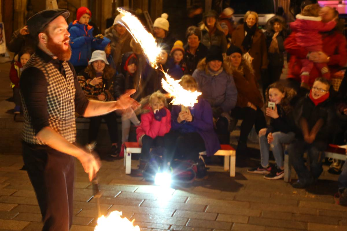 The fire show performer at Durham Fire and Ice 2020