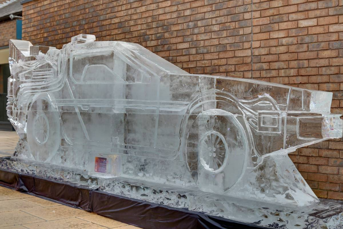 Picture of the Durham Fire and Ice sculpture, the DeLorean