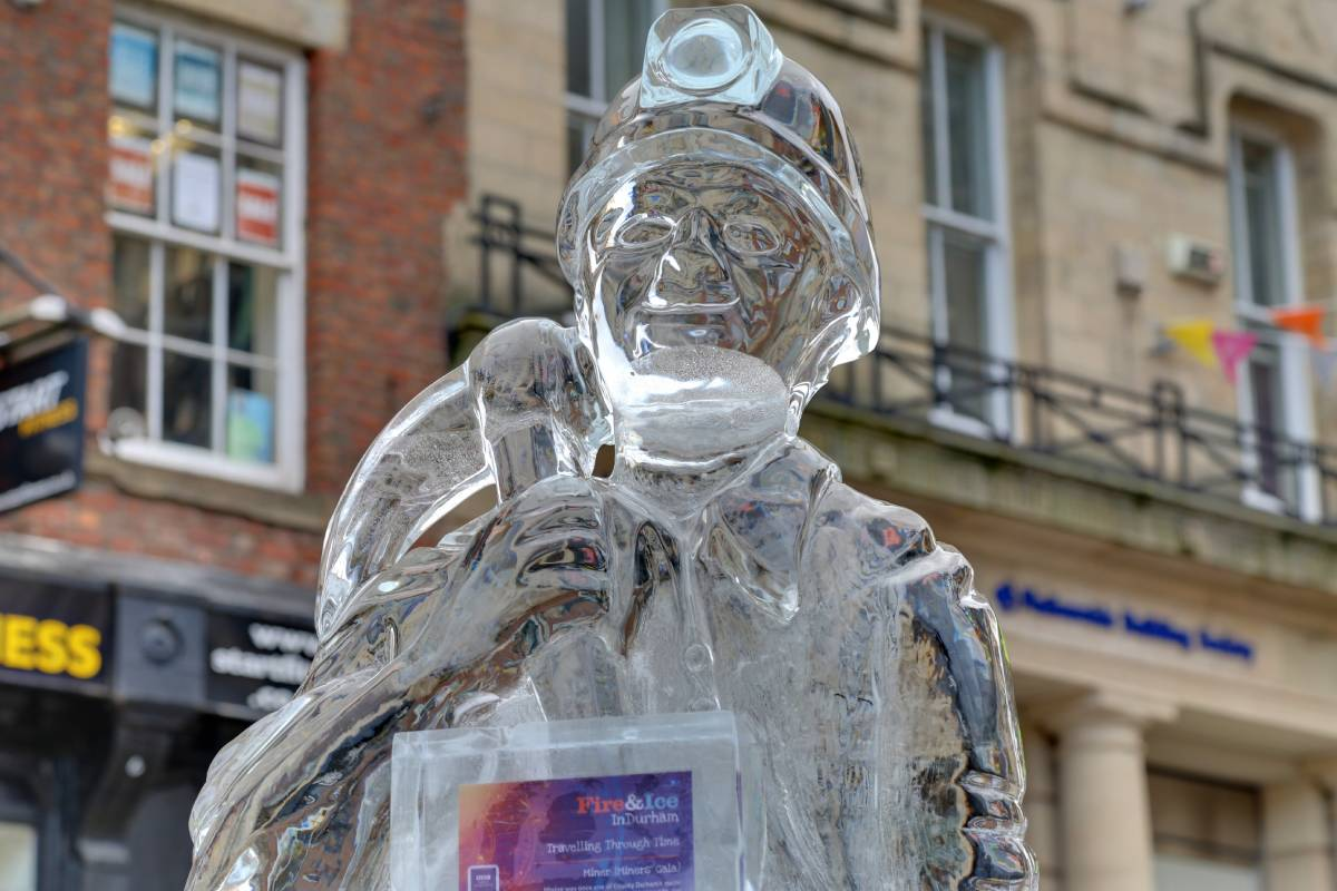 The Fire and Ice Festival sculpture of a miner