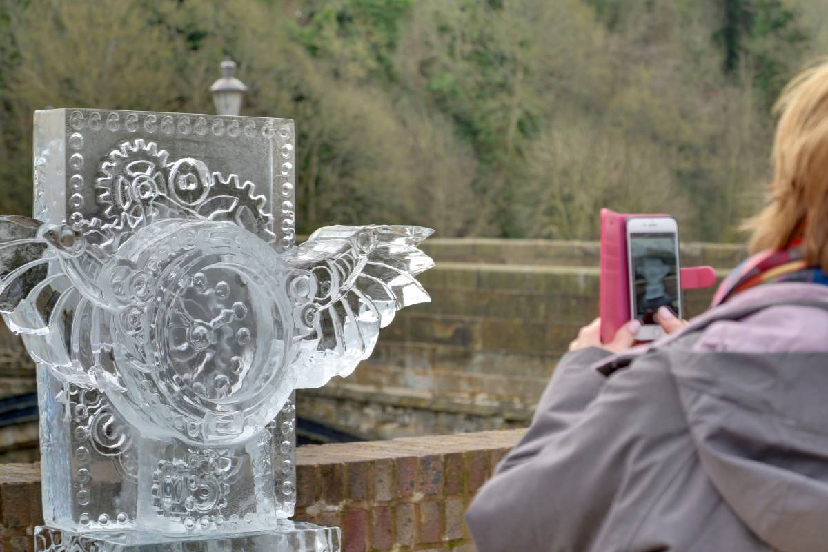 A picture of one of the Durham Fire and Ice sculptures - a steampunk timepiece