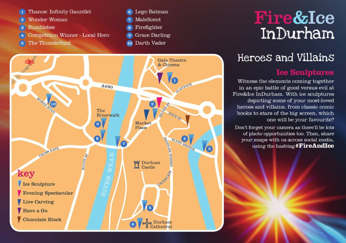Durham Fire and Ice map 2019 to guide you to the sculptures