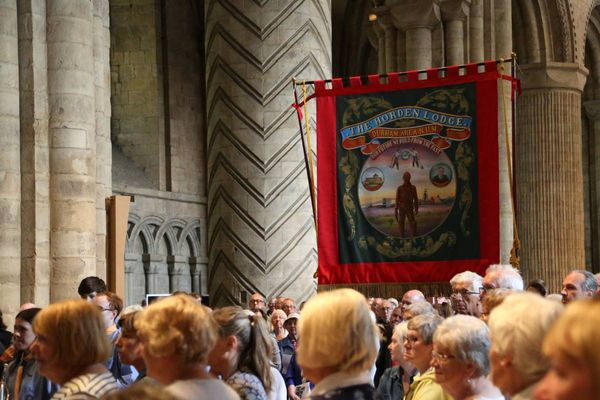Watch the blessing of the banners at Durham Cathedral Miners Gala service